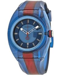 Gucci Sync Xl Blue Dial Mens Two Tone Watch