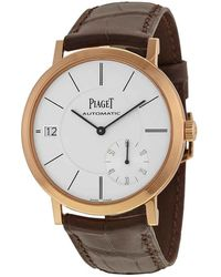 Piaget Altiplano Automatic Silver Dial Brown Leather Mens Watch - Multicolour