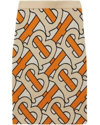Burberry Monogram Intarsia Wool Pencil Skirt - Orange