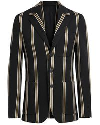 Burberry Mens Striped Wool-blend Slim Fit Club Blazer - Black