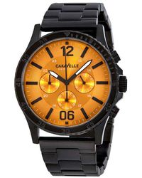Caravelle NY Orange Dial Mens Chronograph Watch - Multicolor