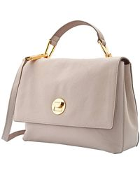 Coccinelle Liya Leather Top Handle Shoulder Bag - Natural