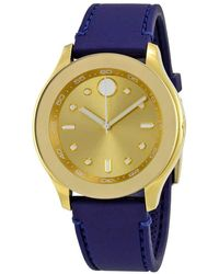 Movado Bold Gold Dial Blue Silicone Ladies Watch - Metallic