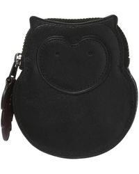 COACH Ladies Black Leather Owl Coin Case