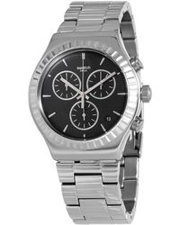 Swatch Joe's Smile Chronograph Quartz Black Dial Watch - Metallic