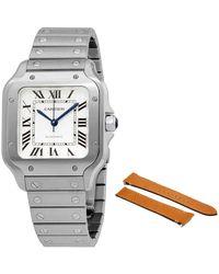 Cartier Santos Silvered Opaline Dial Mens Watch - Metallic