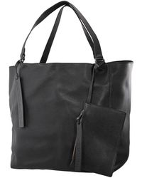 Burberry Large Embossed Crest Bonded Leather Tote In Black