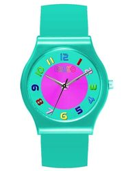Crayo Jubilee Teal Dial Teal Leatherette Watch - Pink