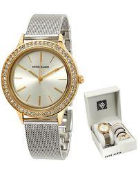 Anne Klein Light Silver Sunray Dial Stainless Steel Mesh Ladies Watch - Metallic