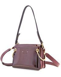 Chloé Small Roy Glossy Shoulder Bag- Burnt Brown