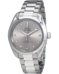 Omega Seamaster Aqua Terra Silver Diamond Dial Ladies Watch - Metallic