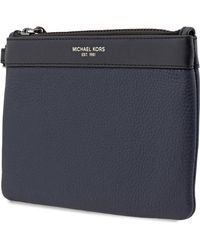Michael Kors Mens Blue Leather Small Travel Pouch