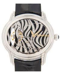 Audemars Piguet Millenary Zebra Diamond Pattern Dial 18 Carat White Gold Ladies Watch - Metallic