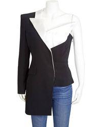 Balmain Ladies Asymmetric One-shoulder Blazer - Multicolour