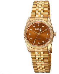 August Steiner Quartz Diamond Brown Dial Ladies Watch - Metallic