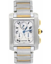 Cartier Pre-owned Tank Francaise Chronograph Quartz White Dial Mens Watch - Metallic