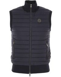 Moncler Mens Down Quilted Cotton Vest, Brand - Blue