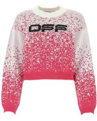 Off-White c/o Virgil Abloh Speckled Knitted Jumper In White/fuchsia - Red