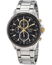 Seiko Chronograph Quartz Black Dial Watch - Metallic