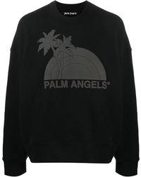 Palm Angels Sunset Crewneck Jumper In Black