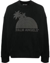 Palm Angels Sunset Crewneck Sweater In Black