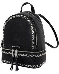Michael Kors Ladies Rhea Medium Studded Pebbled Leather Backpack - Black