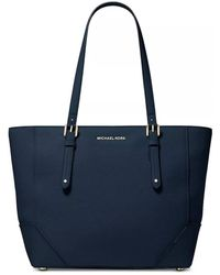 Michael Kors Aria Large Blue Leather Tote