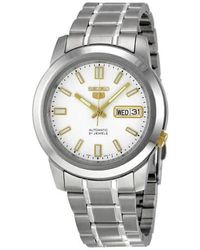 Seiko - 5 Automatic Stainless Steel White Dial Mens Watch - Lyst