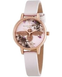 Olivia Burton Embroidered Dial Ladies Watch - Pink