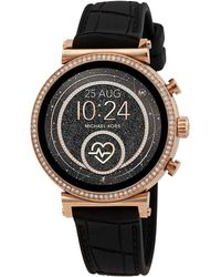 Michael Kors Access Gen 4 Sofie Rose Gold-tone And Embossed Silicone Smartwatch - Multicolour