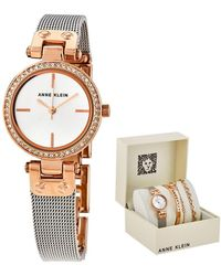 Anne Klein Silver Dial Two-tone Ladies Watch And Jewellery Set - Metallic