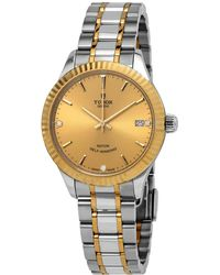 Tudor - Automatic Diamond Champagne Dial Ladies 34 Mm Watch -0007 - Lyst