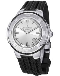 Charriol Celtic Silver Dial Mens Rubber Watch - Metallic