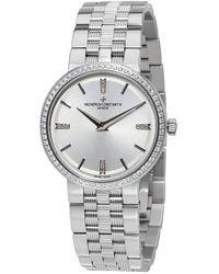 Vacheron Constantin Malte Silver Dial 18kt White Gold Diamond Ladies Watch -9801 - Metallic