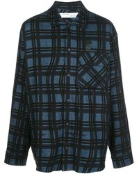 Off-White c/o Virgil Abloh Mens Blue Arrows Flannel Checked Shirt