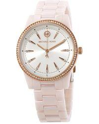 Michael Kors Ritz Pavé Ceramic Bracelet Watch - Pink