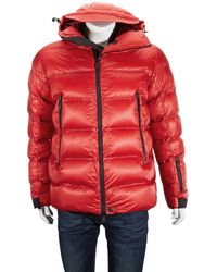 Moncler Mens Red Hooded Padded Jacket, Brand