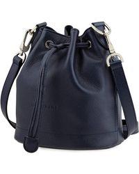 Longchamp Ladies Navy Le Foulonne Bucket Bag S - Blue