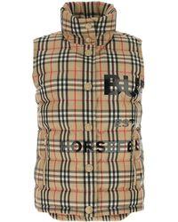 Burberry Brown Printed Polyeser Sleeveless Jacket
