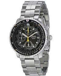 Seiko Flight Chronograph Steel Black Dial Mens Watch - Metallic