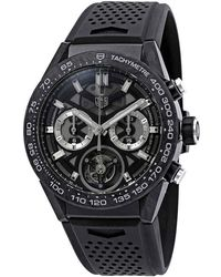 Tag Heuer Carrera 02t Tourbillon Chronograph Automatic Black Dial Mens Watch