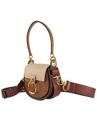 Chloé Tess Small Colorblock Shoulder Bag With Embossed Crocodile Effect - Brown
