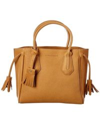 Longchamp Ladies Penelope Small Leather Top Handle Bag - Brown