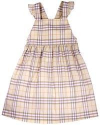 Burberry Kids Livia Vintage Check Pinafore Cotton Dress, Brand - Multicolour