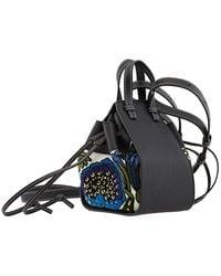 Loewe Mini Floral Hammock Drawstring Bag - Black
