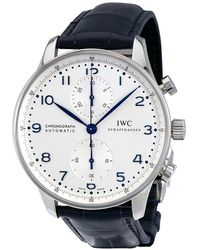Iwc Pre-owned Portuguese Chronograph Automatic White Dial Mens Watch - Metallic
