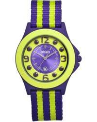 Crayo Carnival Purple And Yellow Dial Purple And Yellow Nylon Ladies Watch