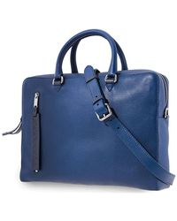 Burberry Mens Grainy Leather Briefcase- Bright Ultramarine - Blue