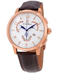 S. Coifman Chronograph Silver Dial Brown Leather Mens Watch - Multicolor