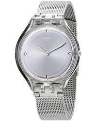 Swatch Skinstones Quartz Crystal Ladies Watch - Metallic
